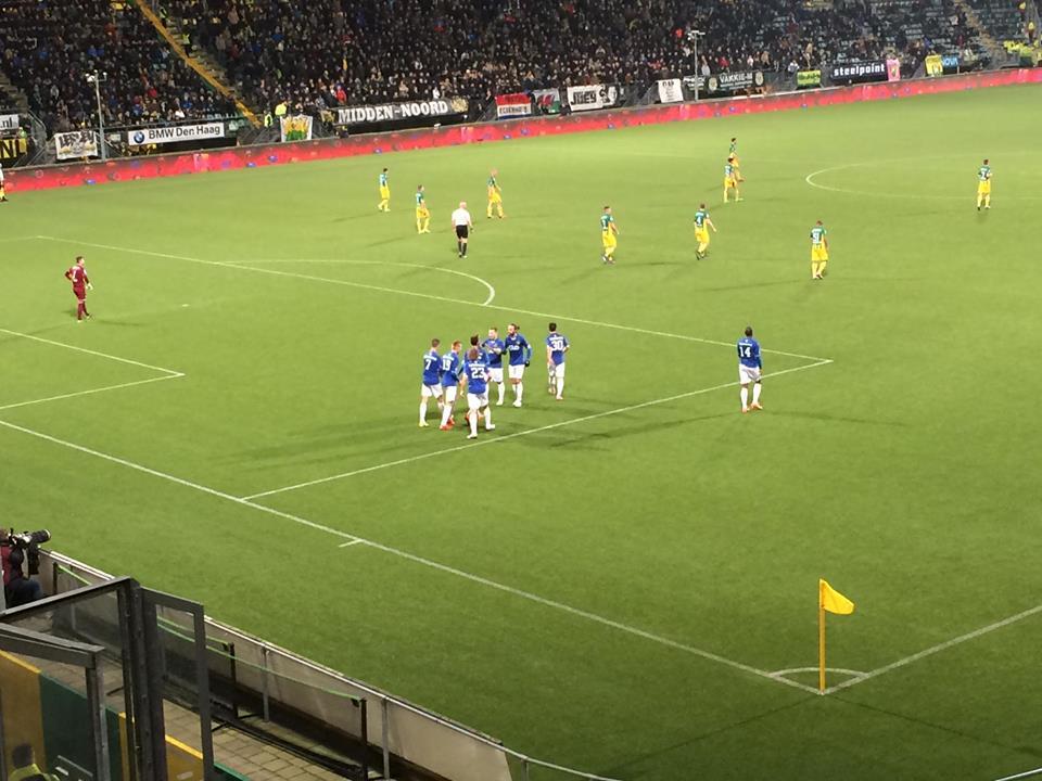 Roda had in het voorjaar het laatste woord op bezoek bij ADO: Peterson schoot in de slotfase de 2-2 binnen. (Roda JC Live)
