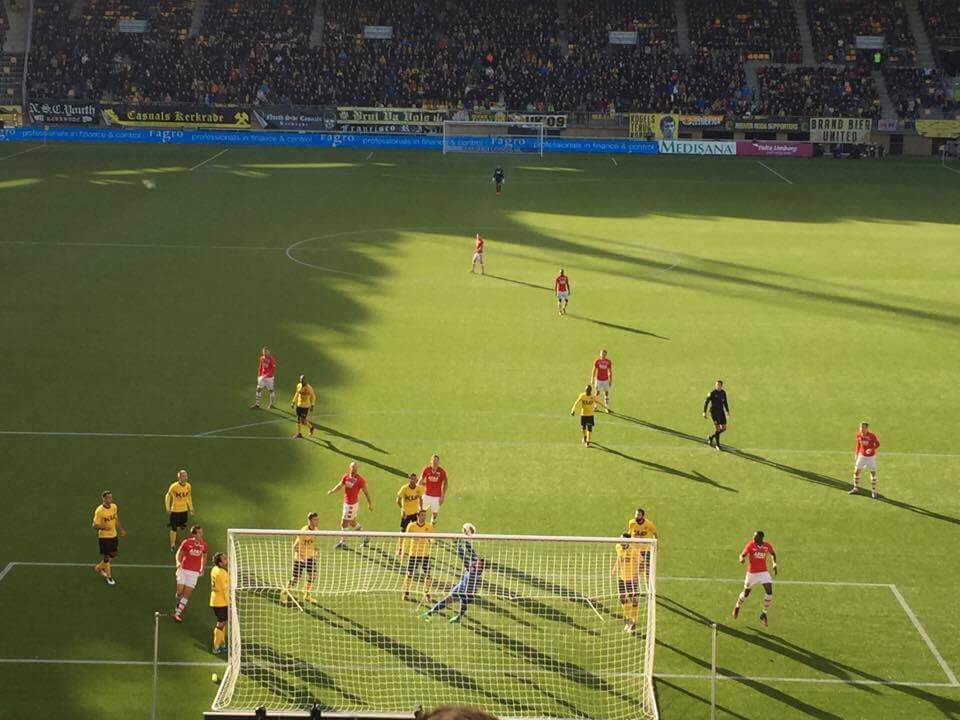 Wedstrijdmoment tijdens de tweede helft. (Foto: Roda JC Live)